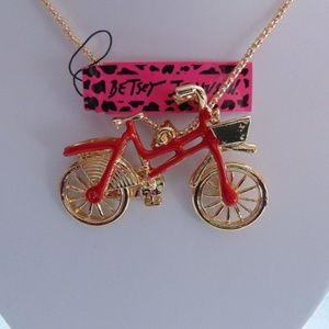 3/$18 Betsey Johnson Red Crystal Bicycle Necklace